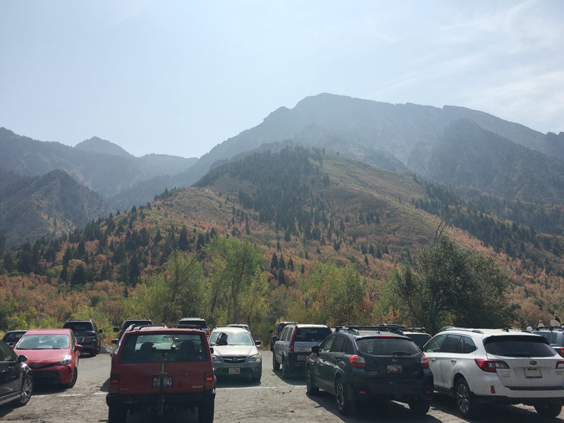 Neff's Canyon parking lot with views of the mountains
