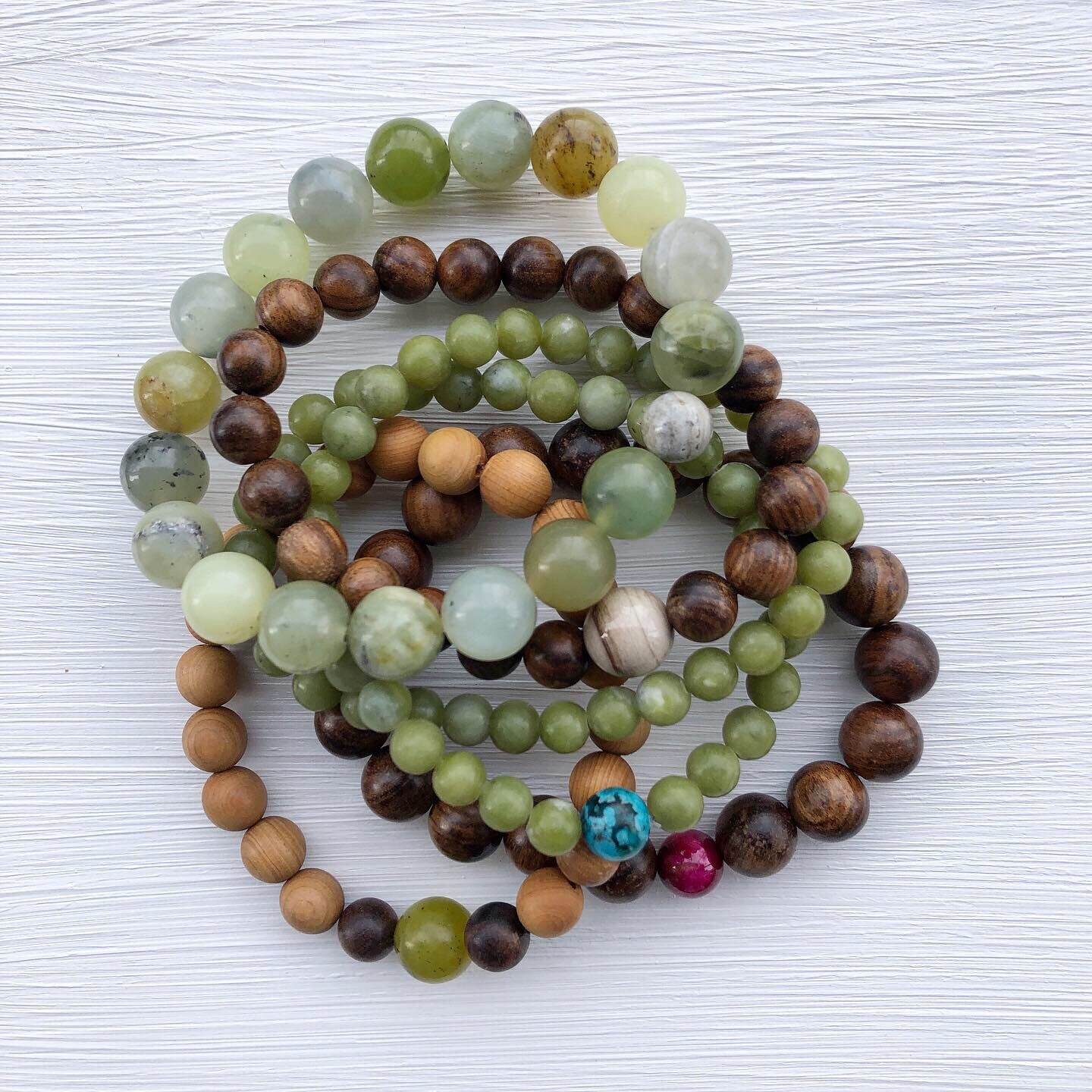 Handmade mala bracelets for yogis and boyfriends