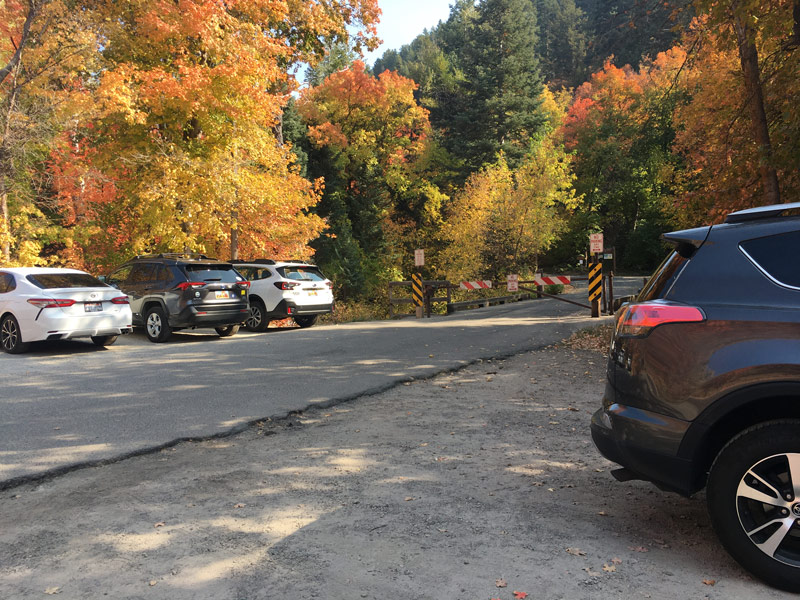 Plenty of parking at the Porter Fork trail head in Millcreek Canyon. There is a little lot and plenty of parking on the road. You may not drive past the gate.